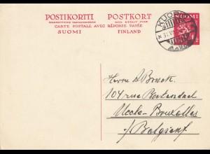 Finnland: 1933: Ganzsache mit Antwortkarte von Kuopio nach Belgien P71
