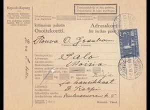 Finnland: Paketkarte 1931 von Helsinki nach Salo