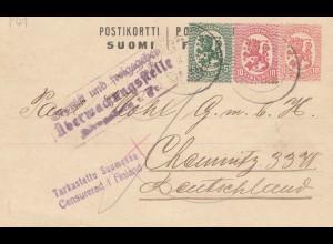 Finnland: Ganzsache 1918 nach Deutschland: Zensur/Postüberwachung