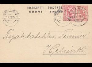 Finnland: 1918: Ganzsache nach Helsinki