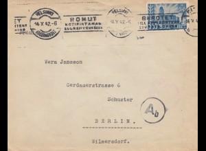 Finnland: 1942: Brief von Helsinki nach Berlin-OKW Zensur