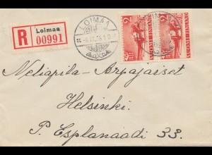 Finnland: 1938: Einschreiben von Loima nach Helsinki