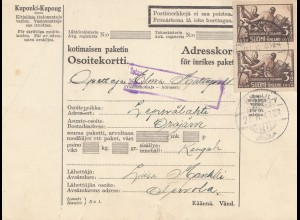 Finnland: 1940: Paketkarte nach Leppälahti