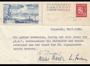 Finnland: 1952: Helsinki: Olypmische Spiele Grußan Datteln und Erkenschwicker