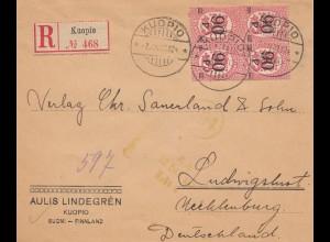 Finnland: 1922: Brief von Helsinki nach Ludwigslust