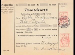 Finnland: Paketkarte 1931 von Helsinki