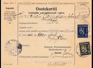 Finnland: 1930: Paketkarte von Malm