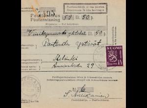 Finnland: 1930 Postanweisung von Vehmersalm