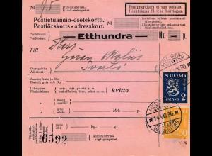 Finnland: 1930 Postanweisung von Helsinki