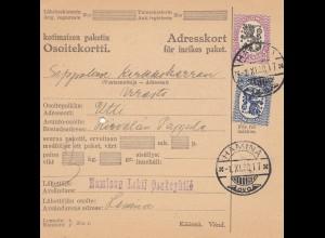Finnland: 1930 Paketkarte von Hamina