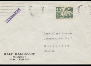 Finnland: 1947: Brief Vasa nach Stockholm