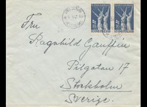 Finnland: 1947: Brief von Helsinki nach Stockholm