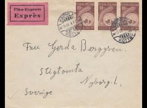 Finnland: 1947: Eilboten/Express von Käpylä nach Schweden