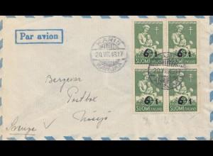 Finnland: 1948: Luftpost von Karis nach Schweden