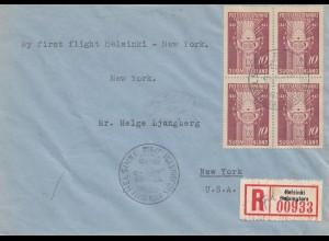 Finnland: 1947: Einschreiben / Luftpost von Helsinki nach USA
