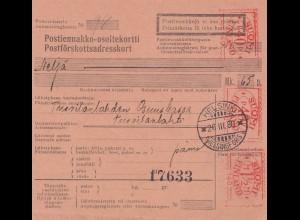 Finnland: 1930: Paketkarte Helsinki