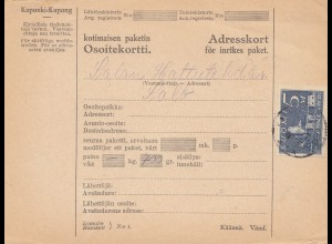 Finnland: Paketkarte nach Salo 1931