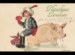 Finnland: 1914/15: Karte Hauskaa Joulua: Schwein/Kind