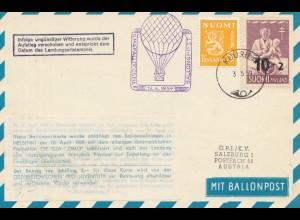 Finnland: 1959: Ballonfahrt Ansichtskarte nach Austria