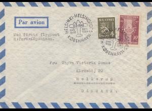 Finnland: 1948: Luftpostbrief von Helsinki/Kopenhagen
