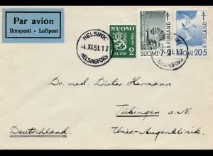 Finnland: 1951: Luftpostbrief Helsinki nach Tübingen/D