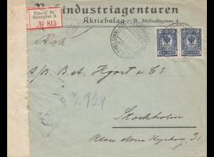 Finnland: 1914: Einschreiben Helsinki nach Stockholm/Zensur