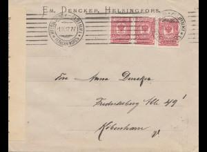 Finnland: 1917 Brief von Helsinki nach Kopenhagen