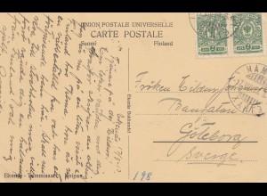 Finnland: 1913: Ansichtskarte Ekenäs nach Schweden