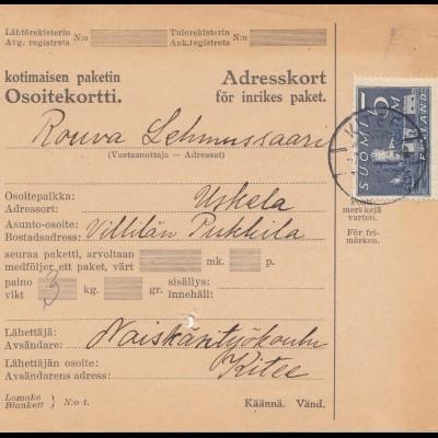 Finnland: 1931: Paketkarte nach Uskela
