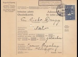 Finnland: 1931: Paketkarte von Helsinki