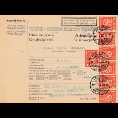 Finnland: 1931: Paketkarte von Helsinki nach Salo