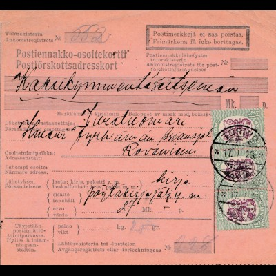 Finnland: 1929: Paketkarte von Tornio