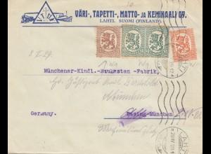 Finnland: 1929: Brief von Lahti nach München