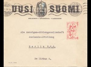 Finnland: 1928: Helsinki nach Berlin