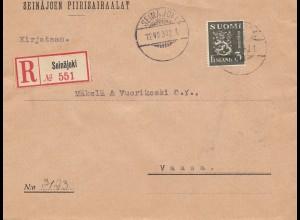 Finnland: 1930: Einschreiben Seinäjoki nach Vaasa