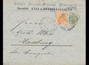 Finnland: 1890: Brief von Wieborg nach Hamburg