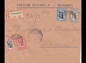 Finnland: 1923 Einschreiiben von Kortesjärvi nach Waasa