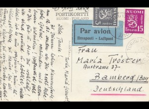 Finnland: 1952: Turku Ansichtskarte Luftpost nach Bamberg