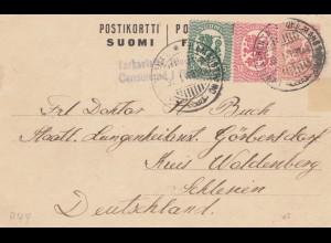 Finnland: 1919: Ganzsache nach Schlesien