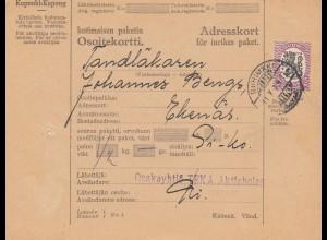 Finnland: 1929: Paketkarte Riihimäki