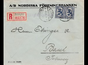 Finnland: 1926: Einschreiben Helsinki nach Basel/CH