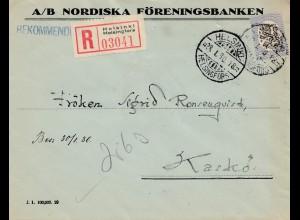Finnland: 1930: Einschreiben von Helsinki nach Kaskö