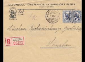 Finnland: 1924: Einschreiben Helsinki nach München