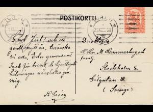 Finnland: 1927: Ansichtskarte Turku nach Schweden
