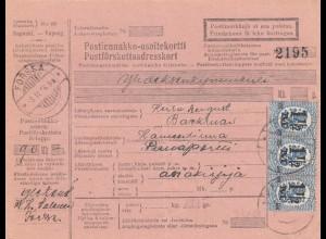 Finnland: 1926: Paketkarte Forssa