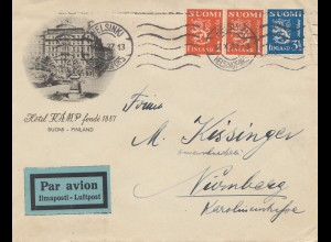 Finnland: 1937: Luftpostbrief von Helsinki nach Nürnberg