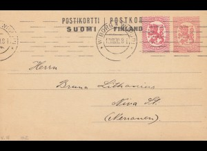 Finnland: 1920: Ganzsache/Postkarte von Wiborg