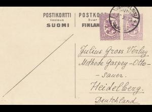 Finnland: 1923: Ganzsache von Vammelsuu nach Heidelberg