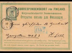 Finnland: 1875: Ganzsache nach Helsinki