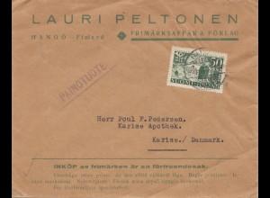Finnland: 1939: Brief von Hangö nach Karise/Dänemark